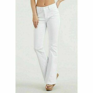 Judy Blue 7/28 White Mid Rise Flare Denim Jeans